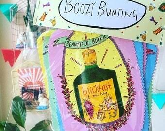 Boozy Bunting! Illustrated Classy Drinkz Bunting, Illustrated Alcohol Bottles Bunting, Buckfast, Lambrini, Tennents etc, Party Bunting