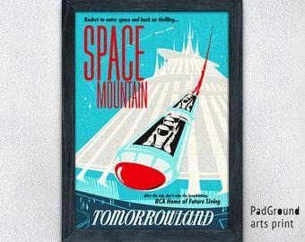 Disney Space Mountain Print, Tomorrowland Print, Disneyland Poster, Vintage, Home Decor, Wall Decor, Playroom Decor, Gifts, Frame -14pg