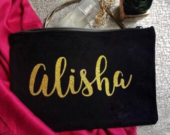 Large Black bag, Glitter bag, personalised make up bag, make up bag cosmetic bag, wedding bag, gold glitter, hen do gift, bridesmaids gift
