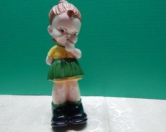 Chubby Cheek Girl Figurine Big Shoes Chalkware Collectible Knick Knack