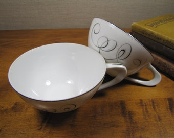 Style House Fine China - Two (2) Porcelain Teacups - Rhythm Pattern - Black and Gray Swirls - Platinum Accent