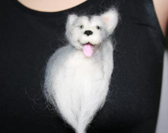 Needle Felted Siberian Husky Dog Brooch. One of a kind OOAK Wearable Art. Ready to send. Great Gift!