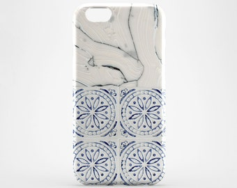 White Marble iPhone 7 Case iPhone X Case iPhone 8 Case iPhone 6 Moroccan iPhone 8 Plus Case iPhone Cover iPhone 5 Case Blue Tile Galaxy Case