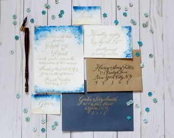 Gilded Veil   Calligraphy wedding Invitation suite   wedding invitations   Calligraphy wedding invitation