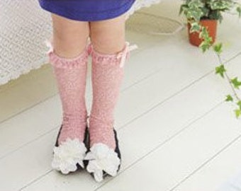 Girl's laced tube socks- Pink (1 to 6 years)