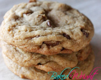 Nutty Chocolate. Chocolate chip and pecan. Chewy Cookies made with all-natural ingredients. Baked goods. Homestyle.