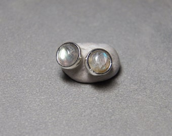 6mm Labradorite Gemstone Round Post Earrings with Sterling Silver