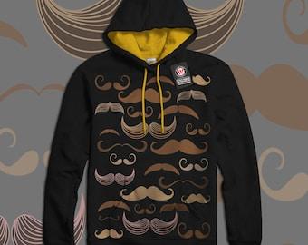 Mustache Madness Moustache Pop Men Black (Gold Hood) Contrast Hoodie S-2XL NEW   Wellcoda *y1431
