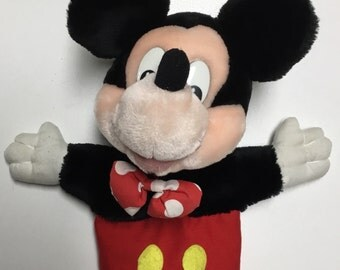 Vintage Mickey Mouse Hand Puppet By Applause and Disney Circa 1970's