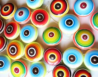 Wooden Yo-yo- color lines (1 pc) - Randomly picked-