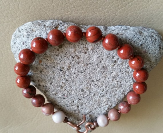 "RED POPPY JASPER Bracelet with Copper Clasp. 8mm Beads in Brick Red to White. Available in 6 to 8"" Wrist Size. Womens Mens Jasper Bracelet"