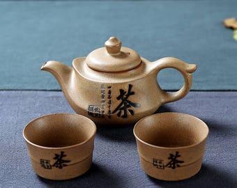 China Pottery Travel Tea Set Ceramic Teapot with Tea Cups, Free Shipping