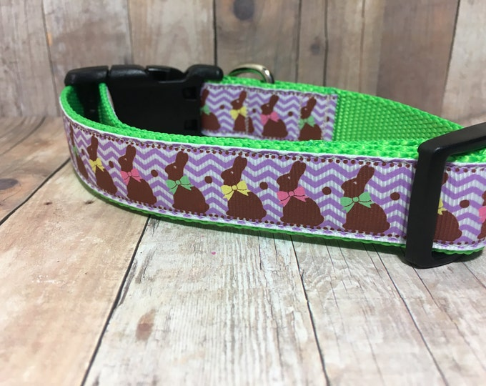 "The Chocolate Bunny - Designer 1"" Width Dog Collar - Easter -  CupcakePups Easter Dog Collars"