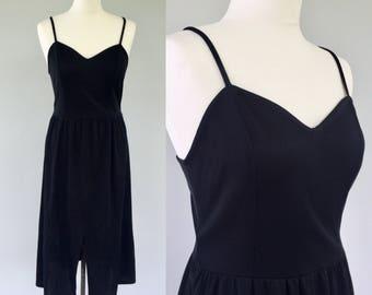 Vintage 70s Black Dress, Strap Dress, Disco Dress, Black Dress, Boho Dress, Evening Dress, Summer Dress, Dance Dress, Size 10