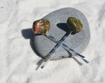 Unakite Jasper Stone Hair Pins (quantity of 2)