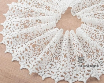 White Floral Cotton Lace Trim Embroidery Tulle Lace Trim 5.11 Inches Wide 2 Yards X0176