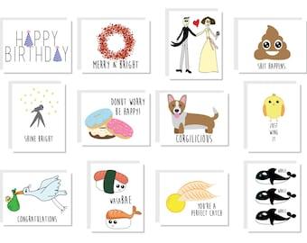 Greeting Card Sampler Pack - 12 Assorted Cards
