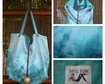 Large turquoise Tote in old linen, numbered unique piece.