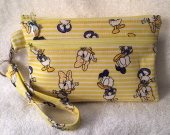 Wristlet, Small Purse, Cell Phone Carrier - Disney - Donald Duck and Daisy