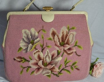 Bold Embroidered Kelly Style Bag from the 50's