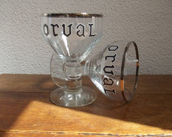 2 classic Orval glasses, Belgian trappist beer