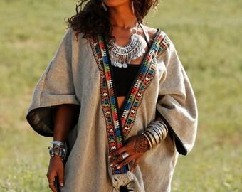 Wanderer Cardigan Poncho Malaika /with Hand Stitched Border #mundocreole