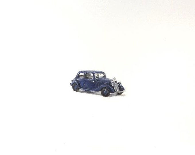 """Print of miniature painting of a Old Mercedes. 1 1/4"""" x 1 1/4"""" print of original Old Mercedes painting on 5"""" square german etching paper"""