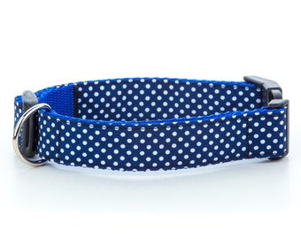 Navy Blue Classic Polka Dot Collar OR Lead