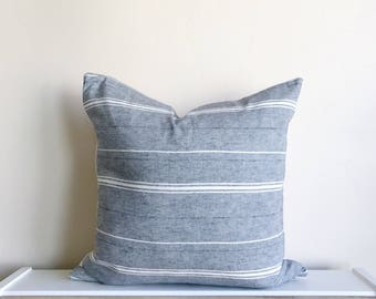 Chambray Stripe Linen Pillow Cover 18x18