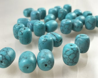 Turquoise Colored Glass Oval/Barrel Shaped Beads, 31 Piece | Jewelry Beading Supplies | New/Older Bead Supplies