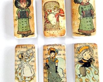 Lot of 10 Vintage Embellished Ceramic Tiles , Glittered, French Ephemera