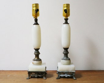 Pair of brass lamps // cloth covered cord // boudior lamps // victorian lighting // set of 2 // lamp pair