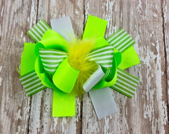 Lime All the Time Green 5 Inch Over-the-Top Hair Bow / Feather Hair Bow
