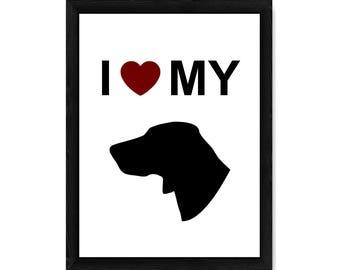 I Love My Weimaraner Dog Silhouette PRINT