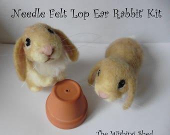 PDF PATTERN Cute Lop Ear Rabbit / Bunny Needle Felt Kit - beginner/ intermediate - The Wishing Shed - Brown Hare Decoration / Ornament Gift