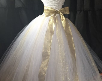 White flower girl dress, gold and white dress, gold wedding, white wedding, fancy girl dress, gold dress, wedding tutu dress, dress