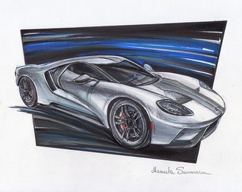 2017 Ford GT  Automotive Art  Muscle Car Brother Gift Auto Wall Decor Ford Painting Print Custom Car Portrait Gift For Him