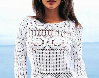 Les femmes pull d'été crochet en blanc / custom