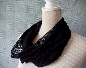 Black lace snood scarf, summer cowl scarf, black lace loop scarf