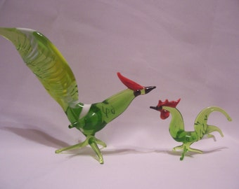 Miniature Glass Roadrunner and Rooster Figurines