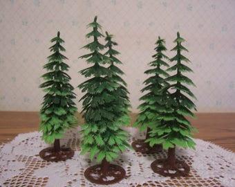 Five Soft Plastic Christmas Trees