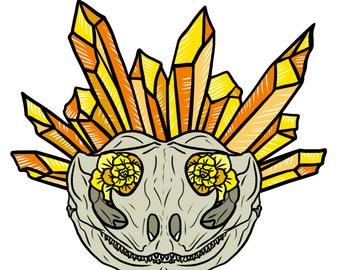 Crystal Flower Bearded Dragon Animal Skull A5 Print