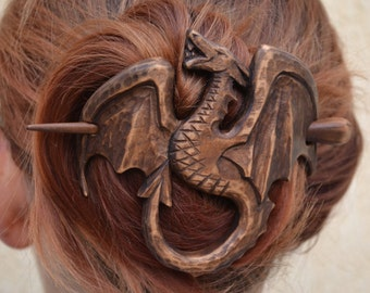 womens, Wood Dragon Hair Barrette Gift for Her, Hair Pin Stick, Wood Carving, Mother of Dragons, game of thrones jewelry Accessory, khaleesi