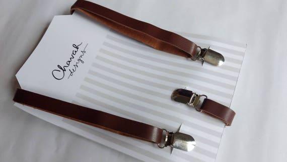 SALE - Brown Faux Leather Suspenders / kids
