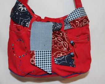 Red Denim Balloon Bag