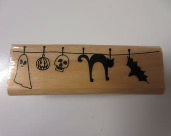"1"" x 3"" Clothesline Halloween Rubber Stamp-Halloween Stamps"