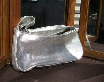Metalic Leather Tosca  Handbag, Made in Italy,Silver Evening Bag