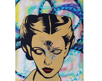 "16x20 ""All Seeing"" Original Painting by ChrisEcto / Chris Ecto - Pop Art, Street Art, Wall Art, Canvas Art, Abstract Art, Home Decor,"