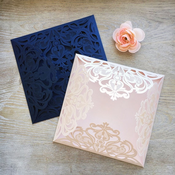 DIY Square Laser Cut 4 flap Invitation - Laser Cut Wedding Invitations - Elegant Invitations - Lace Paper Invites -More Colors Available