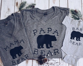 mama bear.papa bear.baby bear family t shirt set. family shirts. pregnancy announcement shirts. pregnancy shirts.